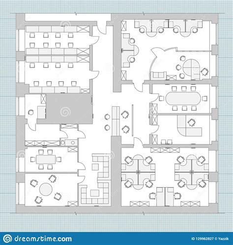 standard office furniture symbols  floor plans stock