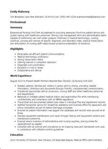 resume for unit professional nursing unit clerk templates to showcase your talent myperfectresume