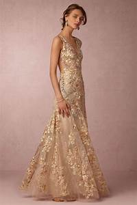 wedding dresses with feminine silhouettes modwedding With golden dresses for a wedding