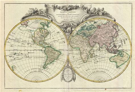 mappe monde ou description du globe terrestre assujettie
