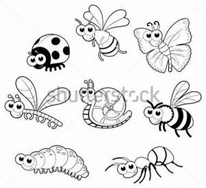 Bugs + 1 Vector Isolated Black and White stock vector ...