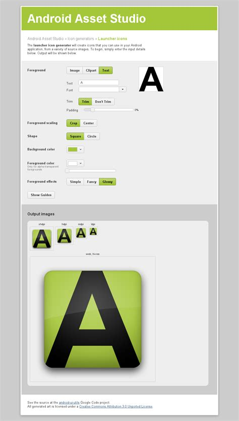 android icon generator android asset studio generate icons for your android app