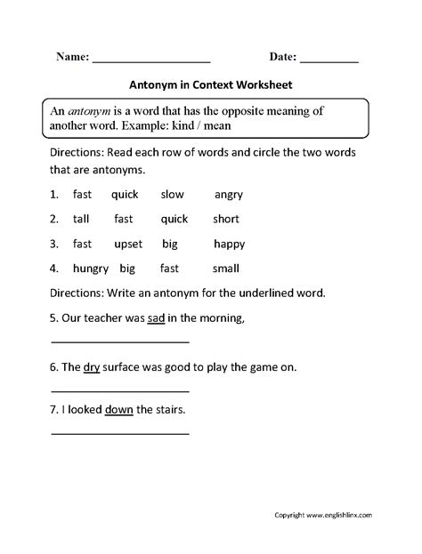 17 Best Images Of Synonym Antonym Worksheet 6th Grade  Synonyms And Antonyms Worksheets