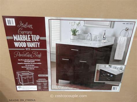 lanza products   italian carrara marble top wood vanity