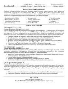 hr professional resume objective exle human resources assistant resume free sle