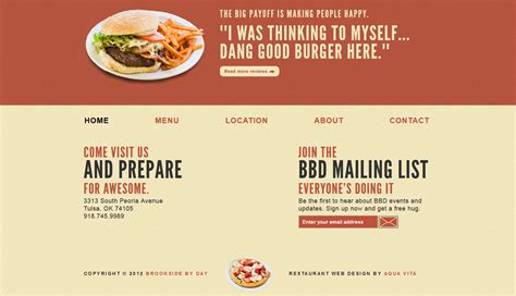 cuisine site restaurant website design brookside by day aqua vita