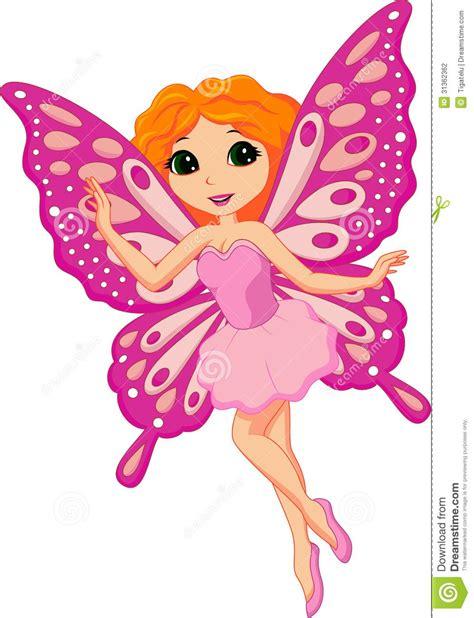 beautiful pink fairy cartoon