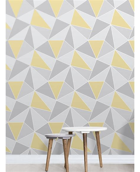 Yellow And Gray Wallpaper Apex Geometric Wallpaper Yellow