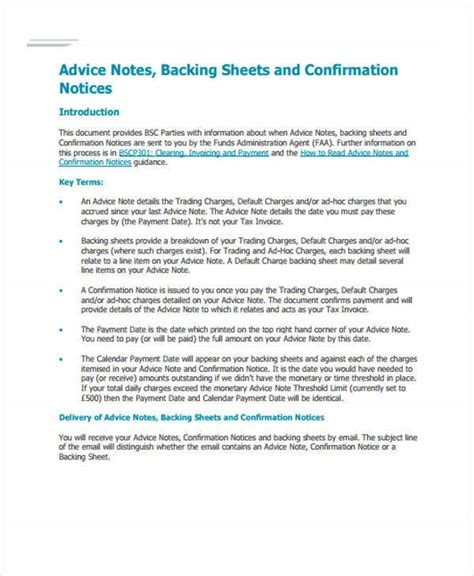 advice note templates  sample  format