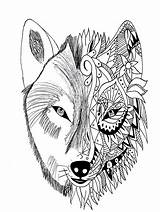 Coloring Adults Tattoo Wolf sketch template