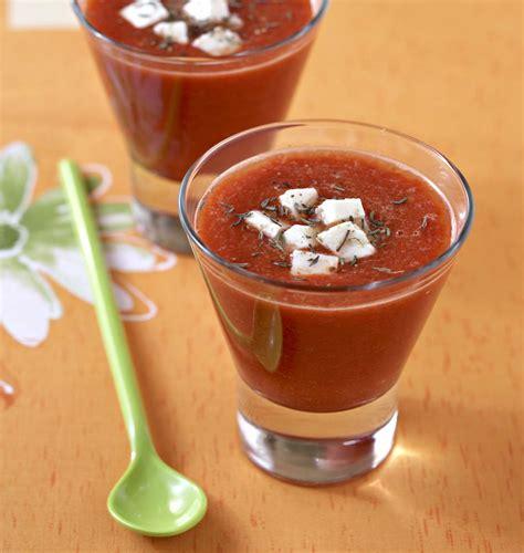mixeur cuisine gaspacho de tomates et poivrons à la feta les meilleures
