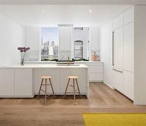 Cuisine Avec Parquet : 1001 conseils et id es pour am nager une cuisine moderne blanche ~ Melissatoandfro.com Idées de Décoration