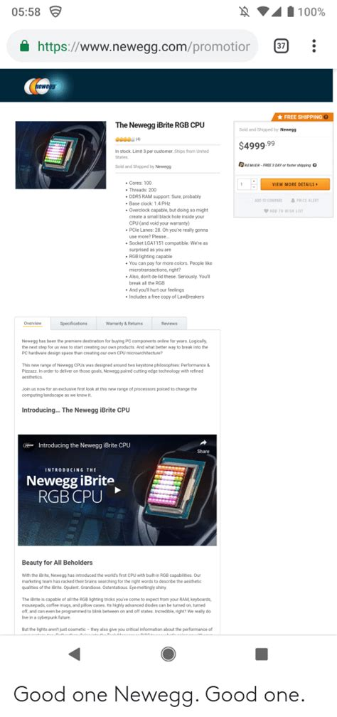 httpswwwneweggcompromotior   shipping  newegg ibrite rgb cpu sold  shipped