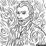 Gogh Vincent Coloring Self Portrait Thecolor sketch template