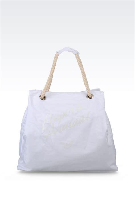 lyst emporio armani beach bag  white