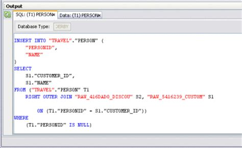 Viewing the SQL Code (Designing Data Integrator Projects)