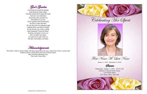 lovely purple rose large funeral program template