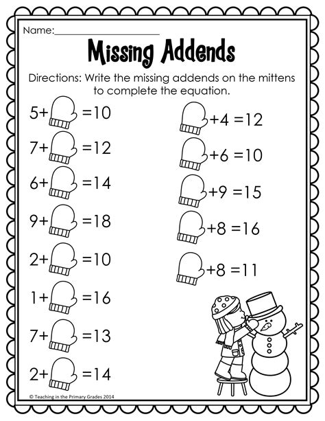Winter 1st Grade Math Addition Worksheets Winter Best Free Printable Worksheets