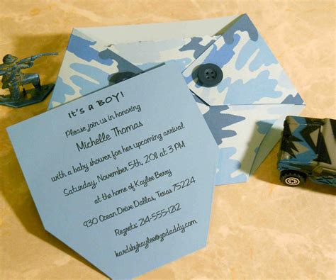 baby shower invitation blue camo diaper  kards  kaylee