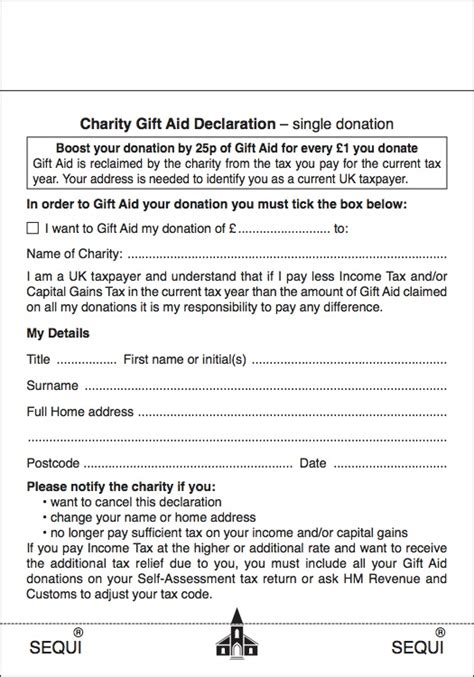 gift aid charities donation envelopes