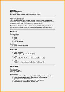 cv personal statement examples resume template cover With cv letter