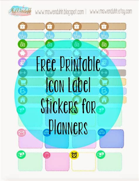 printable stickers icon labels  planning