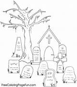 Coloring Graveyard Pages Halloween Holidays Popular sketch template