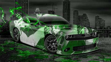 dodge challenger muscle anime aerography city car