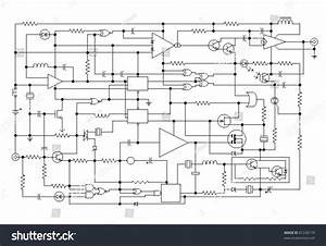 Schematic Diagram Project Electronic Circuit Graphic Stock Vector 81230179