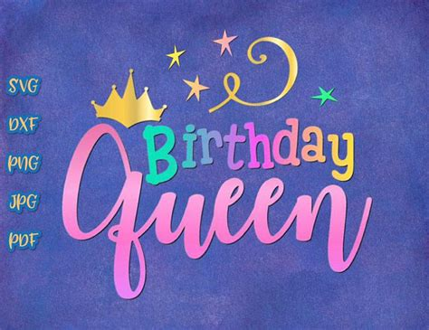birthday queen svg crown clipart ladys gift tee sign