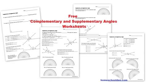 Free Complementary And Supplementary Angles Worksheets  Homeschool Den