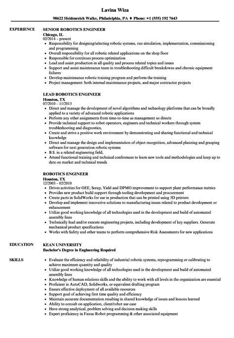 Engineer Resume by Robotics Engineer Resume Sles Velvet