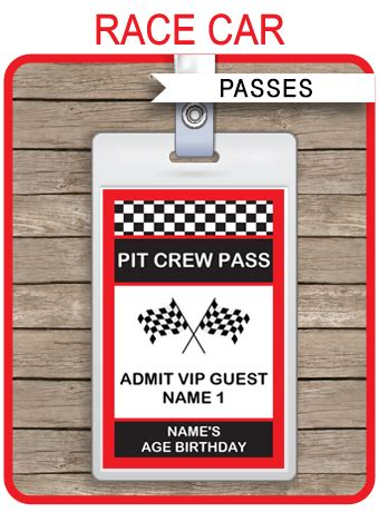 race car party pit crew passes template party favors
