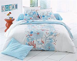 Housse De Couette Theme Mer : linge de lit motif bord de mer ~ Teatrodelosmanantiales.com Idées de Décoration