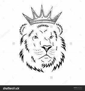 Lion With Crown Drawing Royal Lion Crown Animal King Head ...
