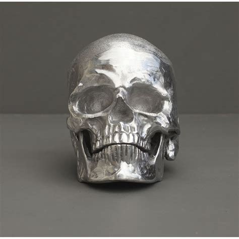 Silver Skull Head Gift Accessory Skeleton Metal Steel Ornament