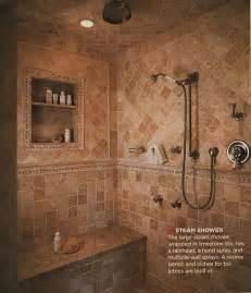 the walk in shower room inside a master bathroom