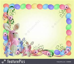Templates: Easter Border Eggs And Bunnies - Stock ...