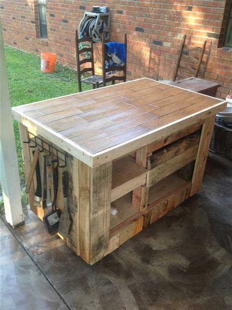 pallets bbq preparation grill table   pallets
