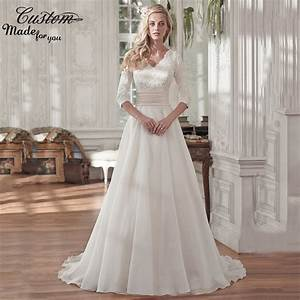 vintage a line v neck lined three quarter sleeves custom With modest plus size wedding dresses