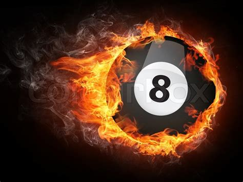 Pool Billiards Ball in Fire. Computer Graphics.   Stock