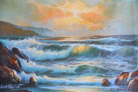 vintage seascape ocean painting  signed june nelson