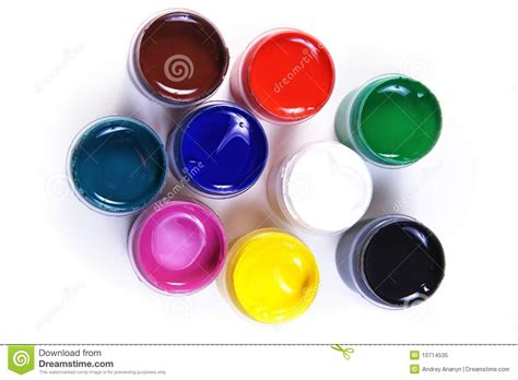 Different Colours by Opened Containers With Paint Of Different Colours Stock