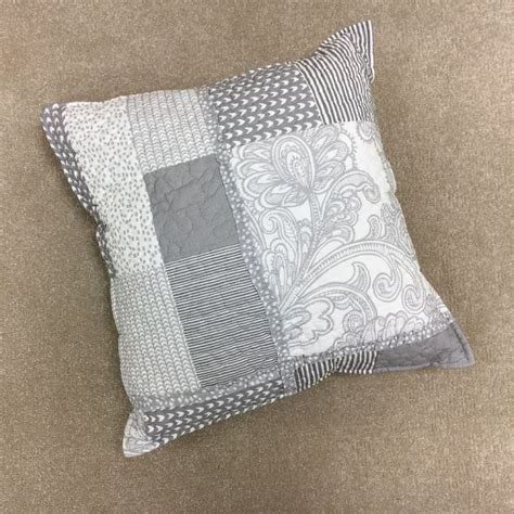 Satira   Quilted Patchwork   Cushion Cover   White Grey