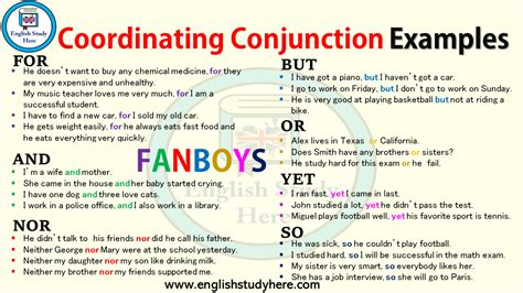 coordinating conjunction examples english study