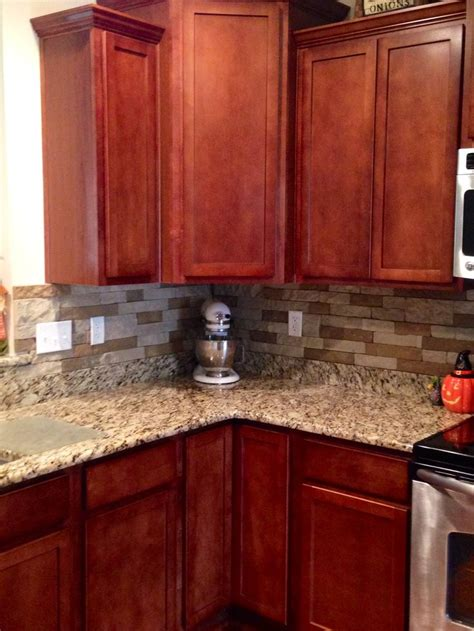 picture of kitchen backsplash airstone backsplash in kitchen quot autumn mountain quot maple