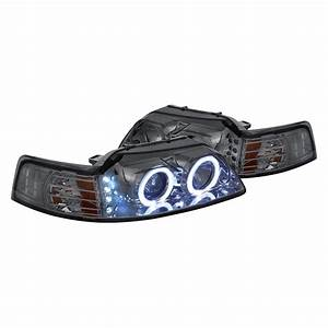 Lumen® - Ford Mustang 2000 Chrome/Smoke Halo Projector LED Headlights