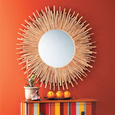 deco bureau industriel miroir rond en bois flotté d 110 cm kampar maisons du monde