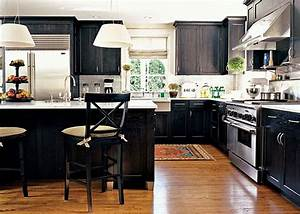 Black kitchen design ideas for Kitchen colors with white cabinets with modern black and white wall art