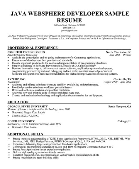 Java Resume Sle For Fresher by Resume Sle Sle Resume For Java Developer Fresher Java Free Java